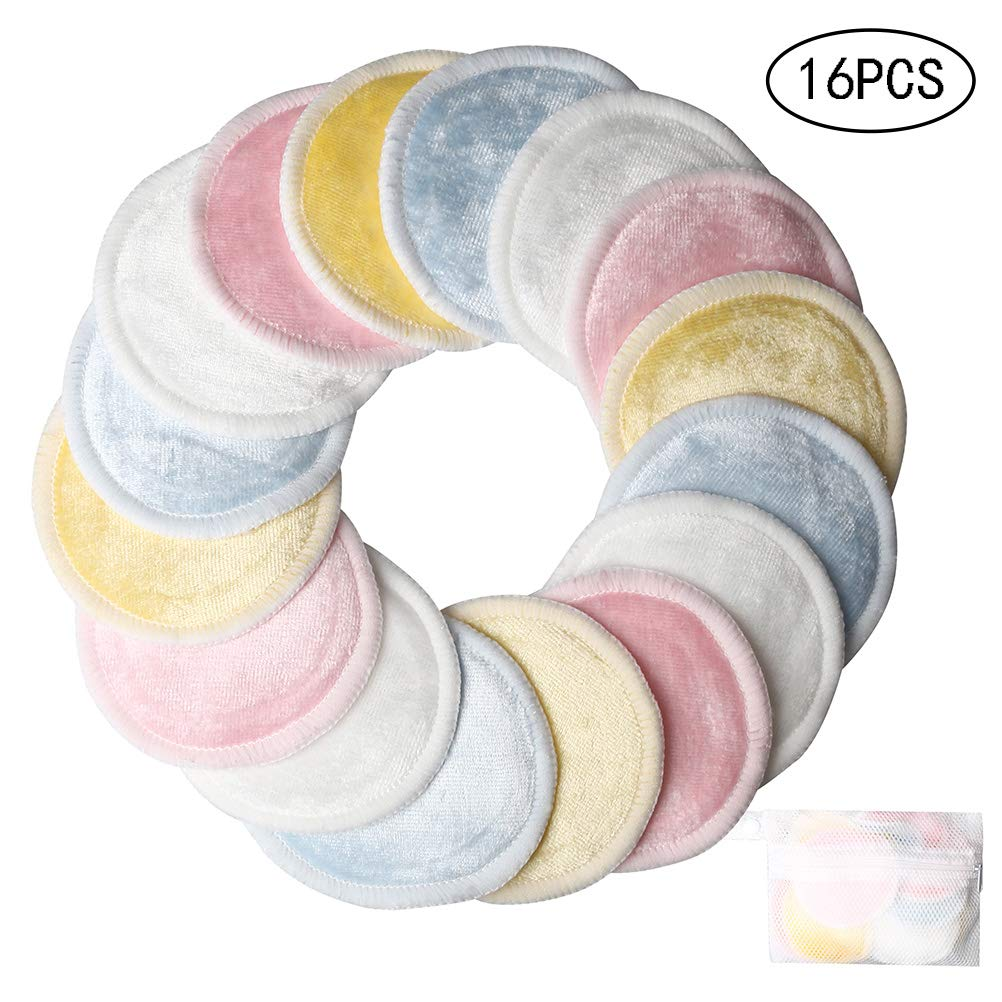 wotu 16 Pcs Makeup Remover Pads, Reusable Bamboo Cotton Pad Soft Facial and Skin Care Wash Cloth with Laundry Mesh Bag