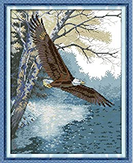 7 By 5 Inch Frame Size #16603 Sunset Jiffy Counted Cross Stitch Kit Eagle in Flight Designed By Patrick Coddington