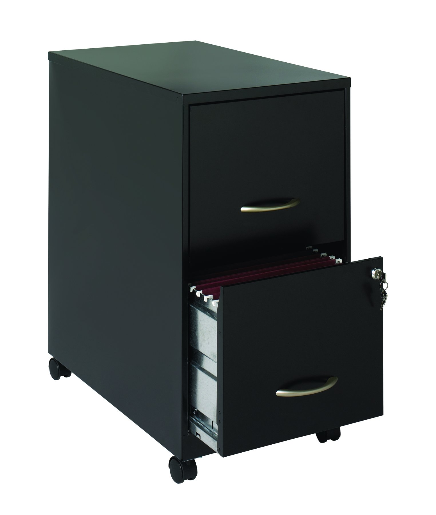 Office Dimensions 22'' Deep 2 Drawer Letter-Sized Mobile Metal File Cabinet, Black (21067)