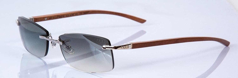 6035aac498d Amazon.com  Fred Ellesmere Solaire 112 F6 Wood Grey Lens Sunglasses  56-17-140  Clothing
