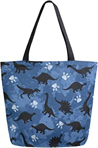 ZzWwR Cute Cartoon Dinosaurs Pattern Extra Large Canvas Beach Travel Reusable Grocery Shopping Tote Bag Foldable Portable Storage HandBags