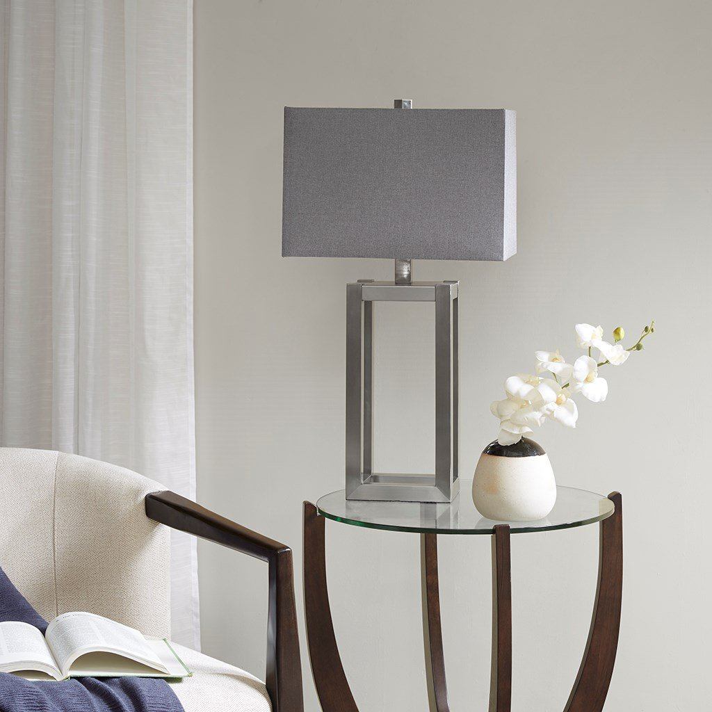 Modern Silver Metal Base with Light Grey Shade - Includes Modhaus Living Pen