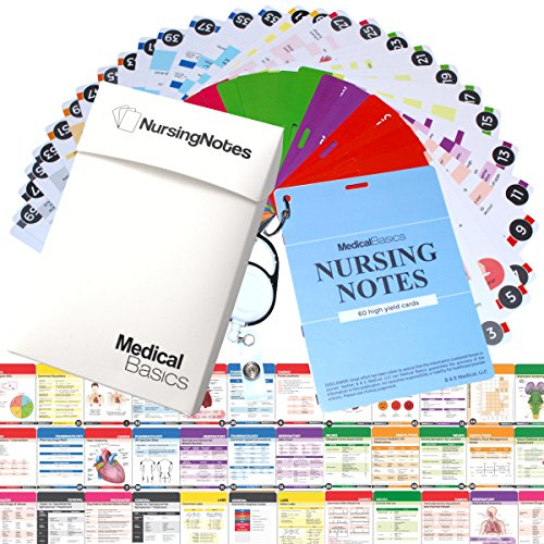 Nursing Notes 60 High Yield Pocket Nursing Reference Cards, Durable Plastic (3.5