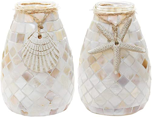SHMILMH Glass Shell Handmade Vase 5.13 Tall Table Centerpiece Mosaic Accent Container Set of 2 for Flowers, Home Decor, Office, Living Room, Kitchen, Wedding