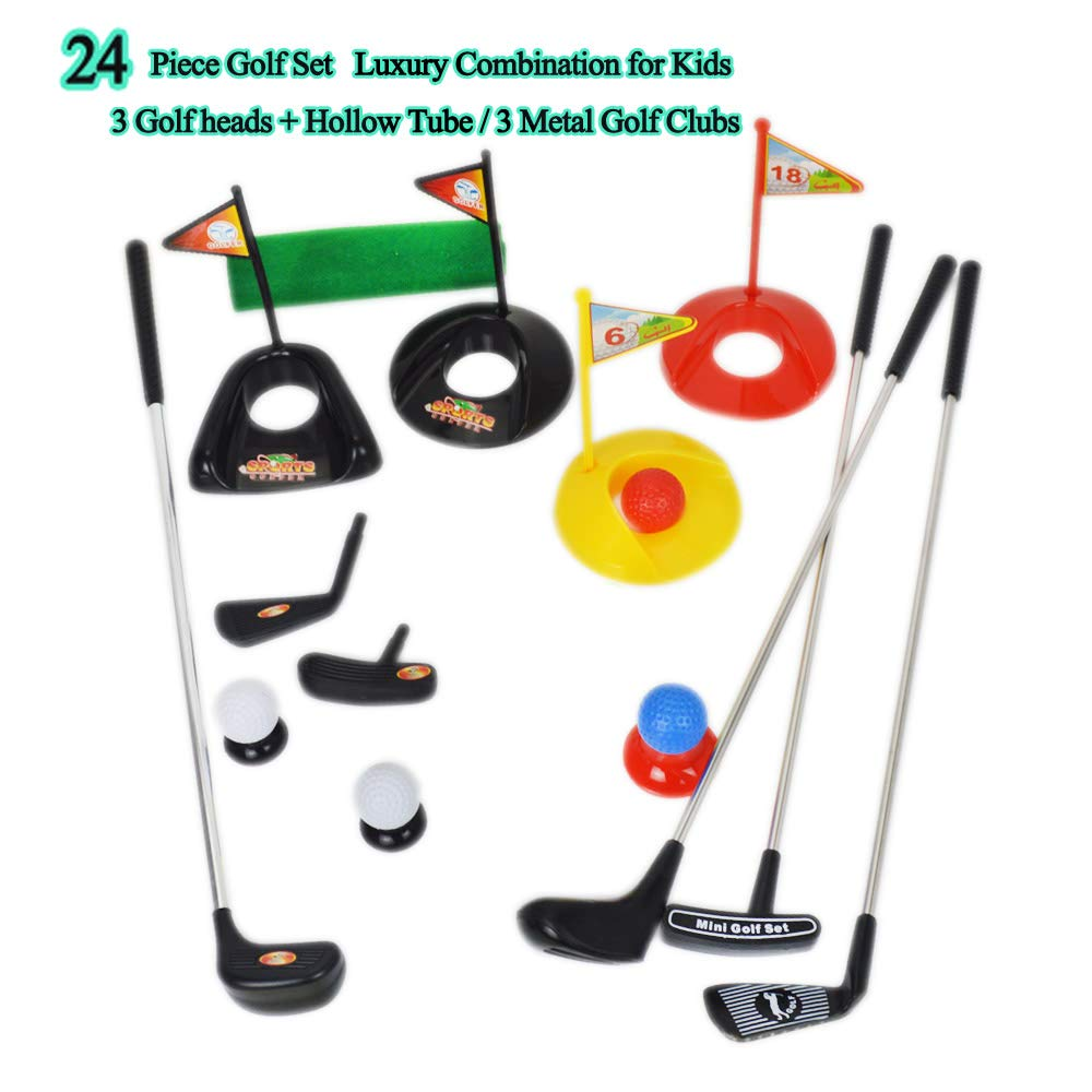 Big Size ! Popular Sport Play Toys Kids' Golf Accessories Kits Sets for Kids Toddler Children Golf Clubs Set Plastic Sprots Toys (24 Pcs) by SOWOFA