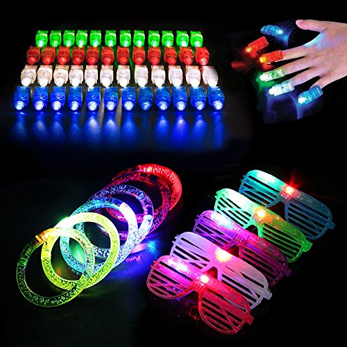 Blu7ive Light up Toys with 40 Pack Led Finger Lights, 6 Pack Glow Bracelet, 6 Pack Glow Glasses for Party Supplies, Festivals, Raves, Birthdays, Children Toy