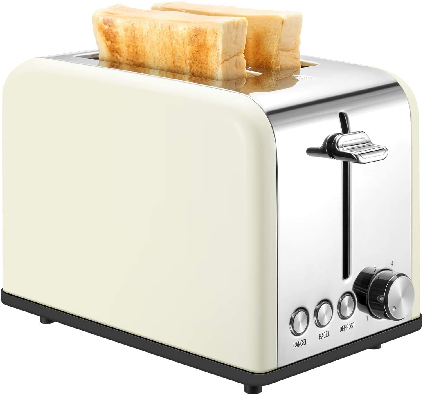 Toaster 2 Slice, Retro Small Toaster with Bagel, Cancel, Defrost Function, Extra Wide Slot Compact Stainless Steel Toasters for Bread Waffles, Cream