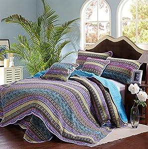 Striped Jacquard Style 3-Piece Patchwork Bedspread/Quilt Sets ,100% Cotton,Queen