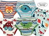4 Pack Potty Training Pants/Padded Underwear for Toddlers | Washable & Resuable | Soft Cotton | Comfortable Fit for Your Baby (Large, Fox/Fish/Dino/Car)
