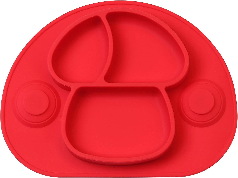 DEBAIJIA Beb/é Ni/ños Plato de Silicona Fuerte Succi/ón Ventosa Divididas Placemat Grado Alimenticio Infantil Antideslizante FDA y Sin BPA Congelador Seguro Rojo Microonda Lavavajillas