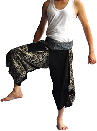 Mens Pants One Size All Black Hill tribe design unique on waist and ankle PJ004BFD