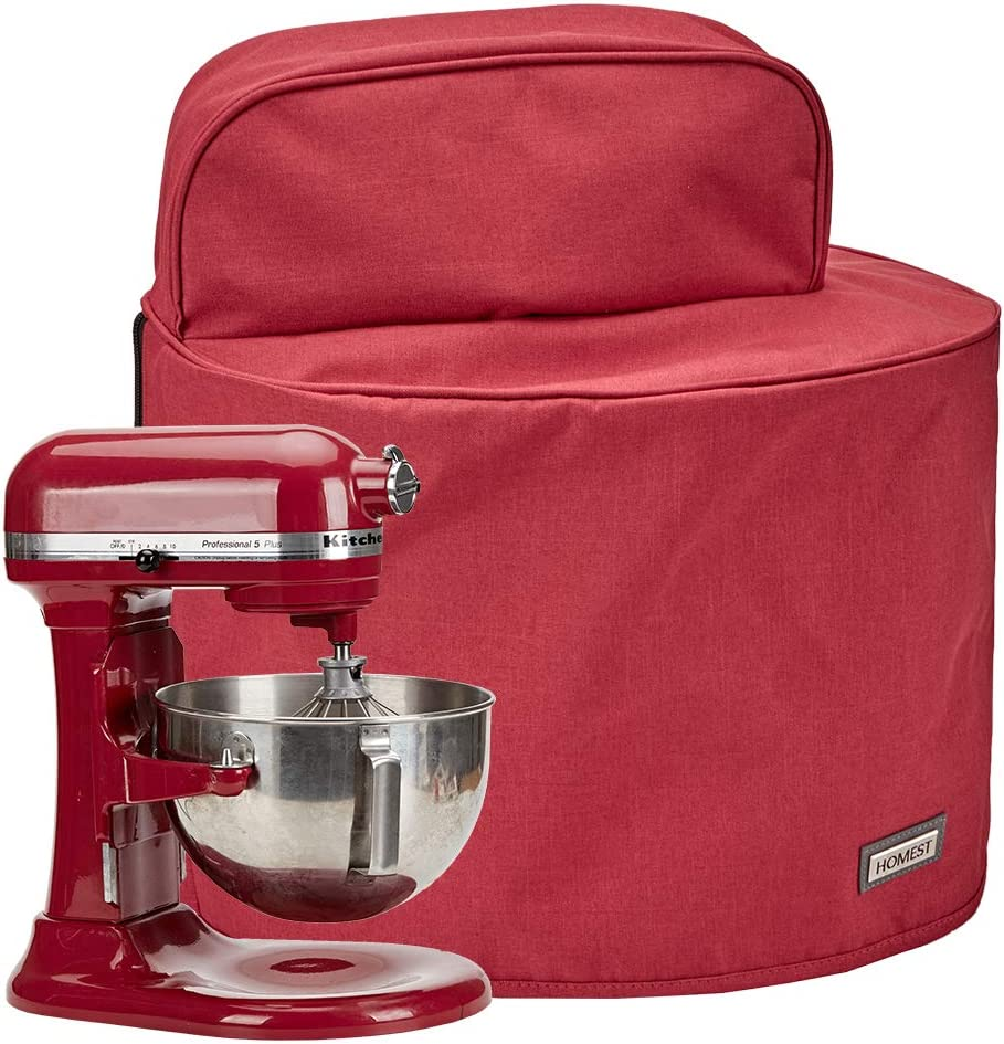 HOMEST Stand Mixer Dust Cover with Pockets Compatible with KitchenAid Bowl Lift 5-8 Quart, Empire Red (Patent Pending)