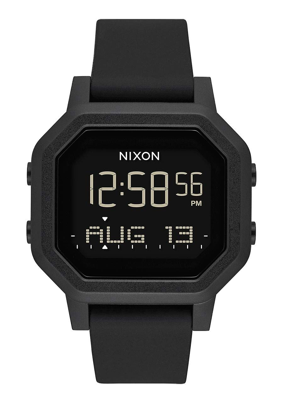 NIXON Siren A1210 - All Black - 100m Water Resistant Women's Digital Sport Watch (38mm Watch Face, 18mm-16mm Pu/Rubber/Silicone Band) by NIXON