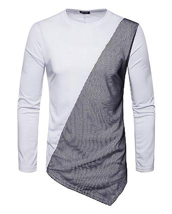 Moda Camisetas Largas para Color coincidente Hombre Manga Larga Asimétrico Hip Hop Hipster T-Shirt: Amazon.es: Ropa y accesorios