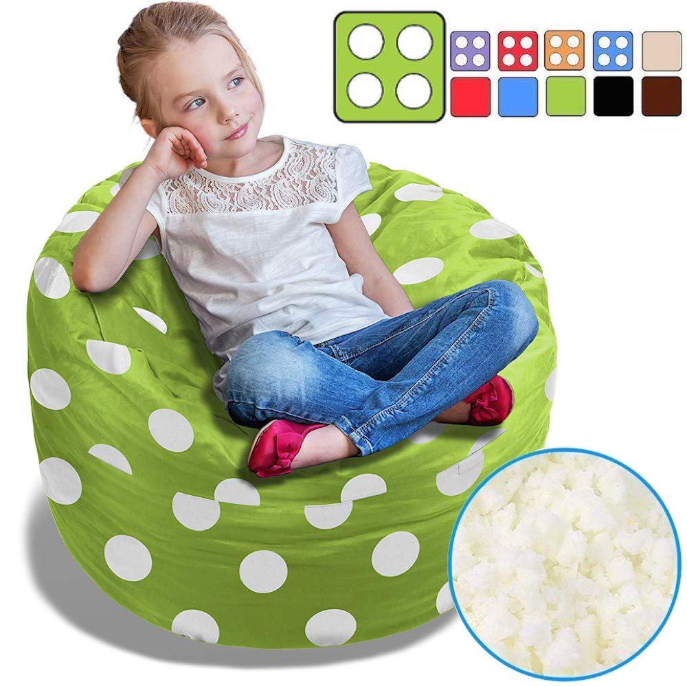 BeanBob Bean Bag Chair for Kids - Foam Filled Bean Bag - Bedroom Furniture & Sofa for Children, 2.5' Green with Polka Dots
