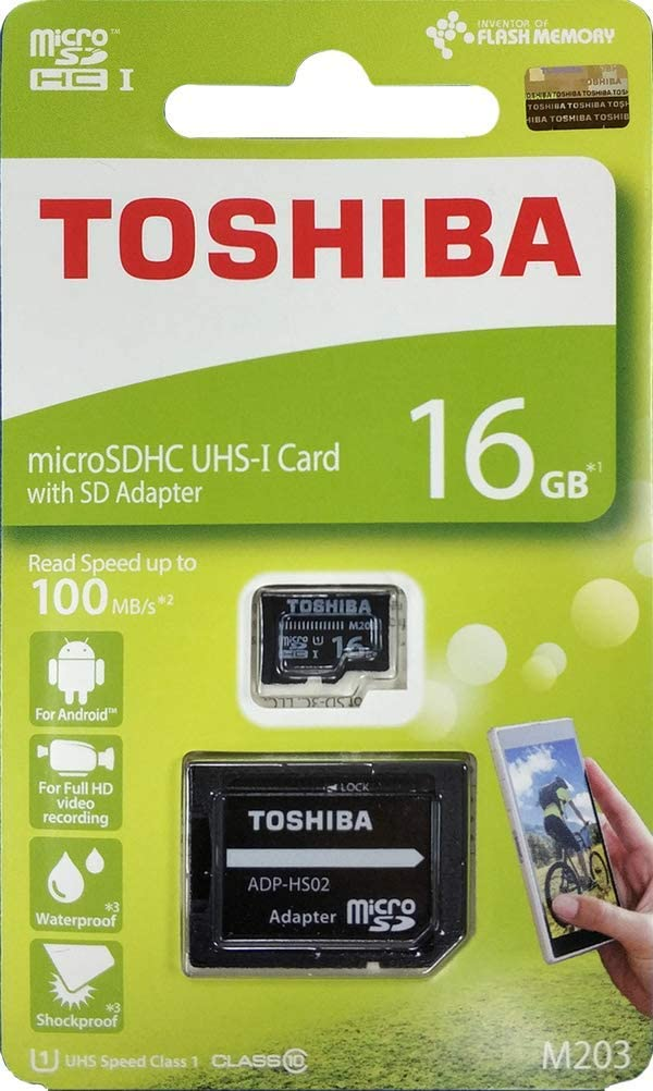 Toshiba 16GB Micro SD Memory Card M203 SDHC UHS1 U1 Class10 with SD Adapter (THN-M203K0160A2)