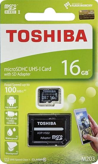 UHS-I U1 Class 10 MicroSDHC Tarjeta de memoria Micro SD Toshiba 16 GB M203
