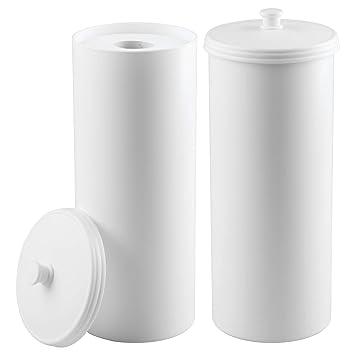 mDesign Juego de 2 portarrollos de pie - Dispensador de papel higiénico para el baño - Almacenaje de baño para 3 rollos de papel higiénico - blanco: ...