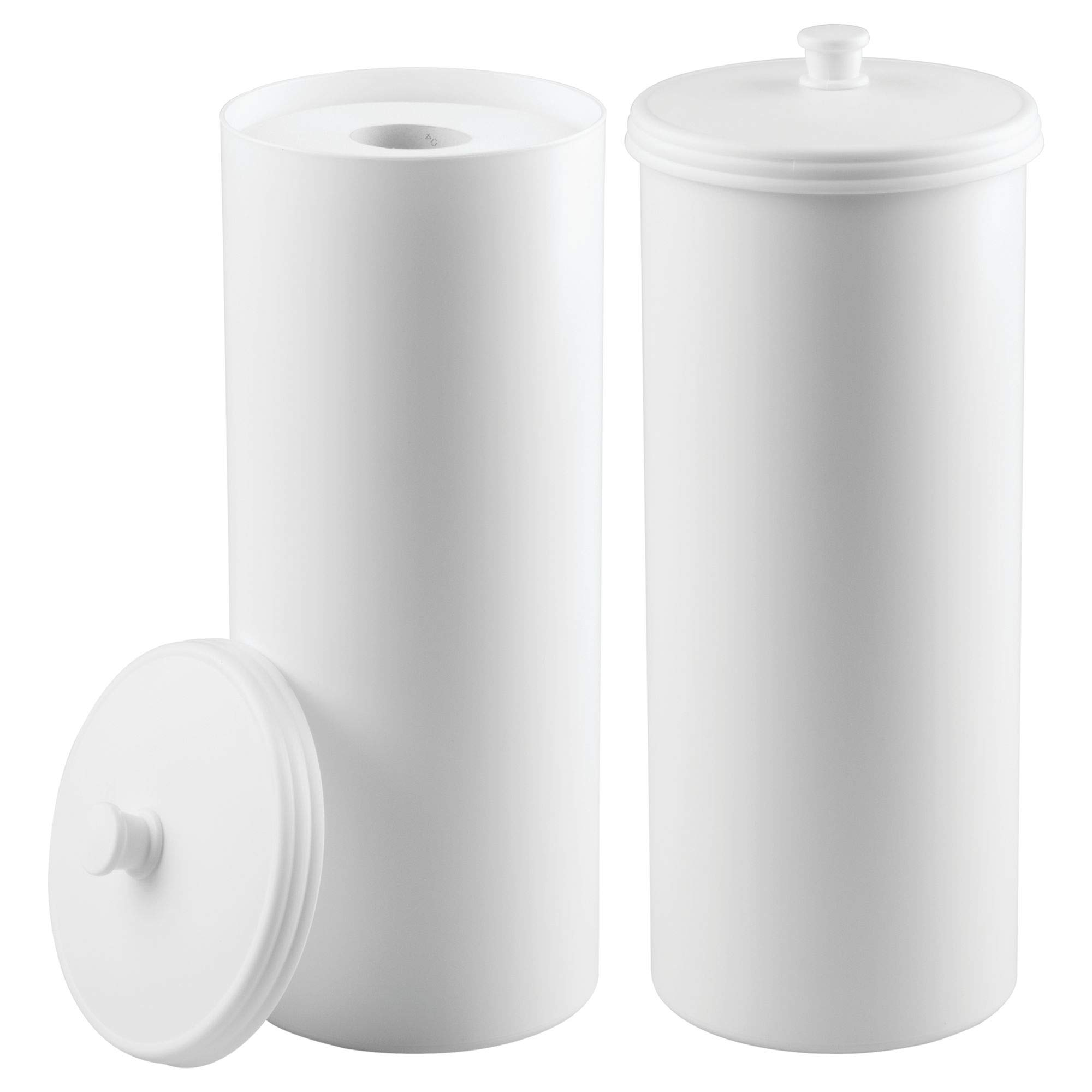 mDesign Free Standing Toilet Paper 3 Roll Holder Canister Stand with Lid for Bathroom Storage - Pack of 2, White