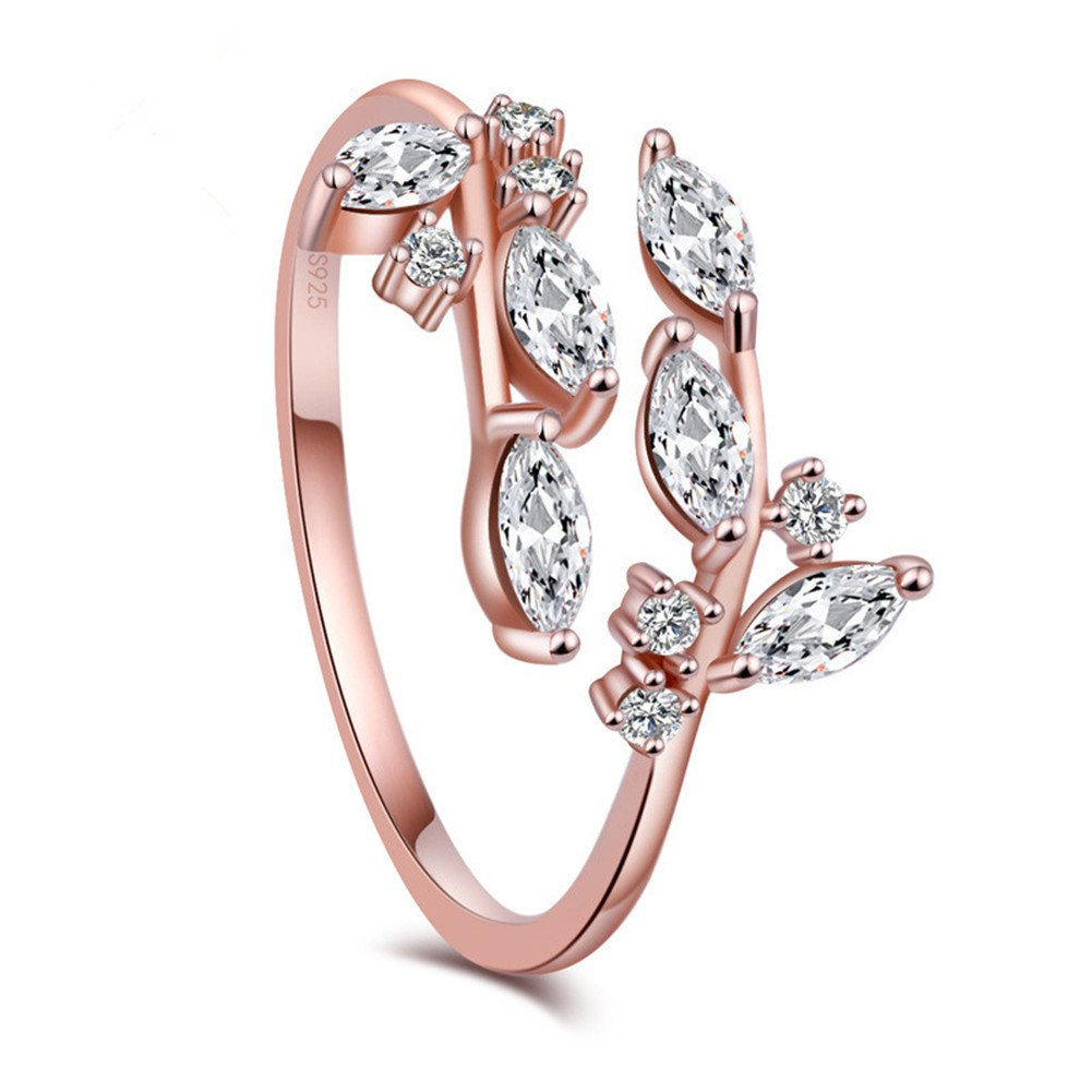 KOREA-JIAEN Branch Ring S925 Sterling Silver Plated Base 5A Level CZ Adjustable Ring (Rose gold)