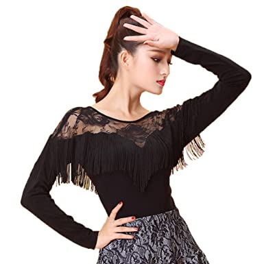 29ee89e71 NAKOKOU Latin Dance Costume Sexy Lace Tassel Long Sleeves Top for Women(S)