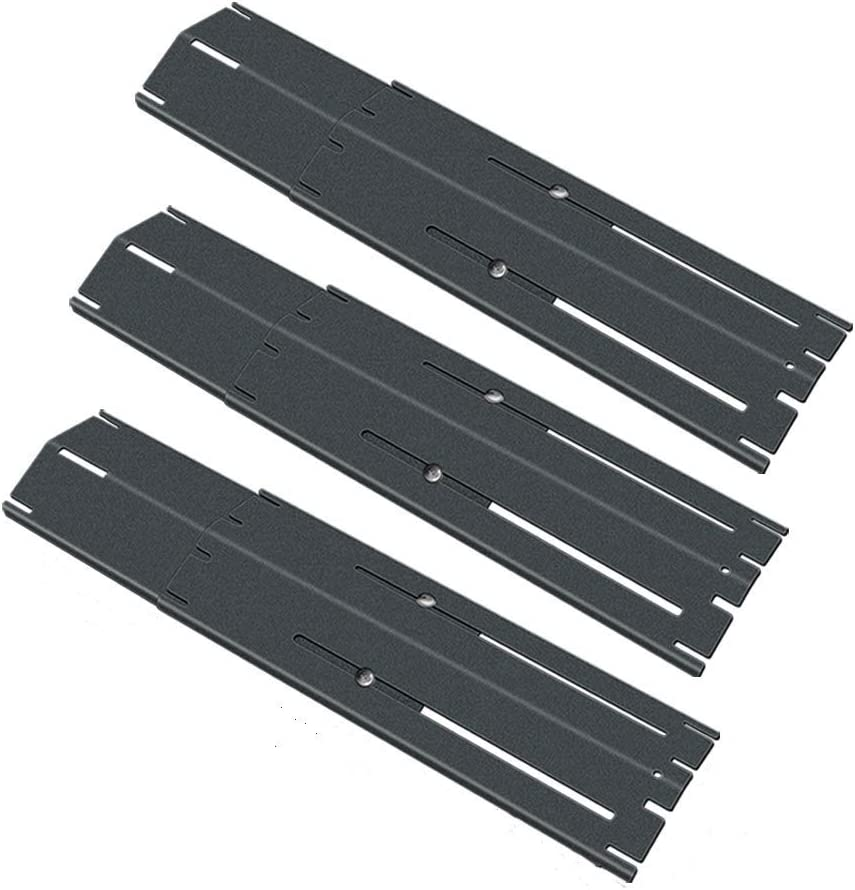 """Uniflasy Universal Adjustable Porcelain Steel Heat Plate Shield, Heat Tent, Flavor Bar, Burner Cover, Flame Tamer for Brinkmann, Charbroil, Nexgrill and Others, Extend from 11.75"""" to 21"""", 3Pcs"""