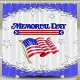 BINGO FLAG Funny Fabric Shower Curtain Happy Memorial Day Waterproof Bathroom Decor With Hooks 60 X 72 Inch