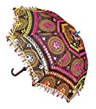 Home Decorative Handicrafts Items Jaipuri Elephant Print Handmade Embroidery Work Wedding Umbrella- Multicolor
