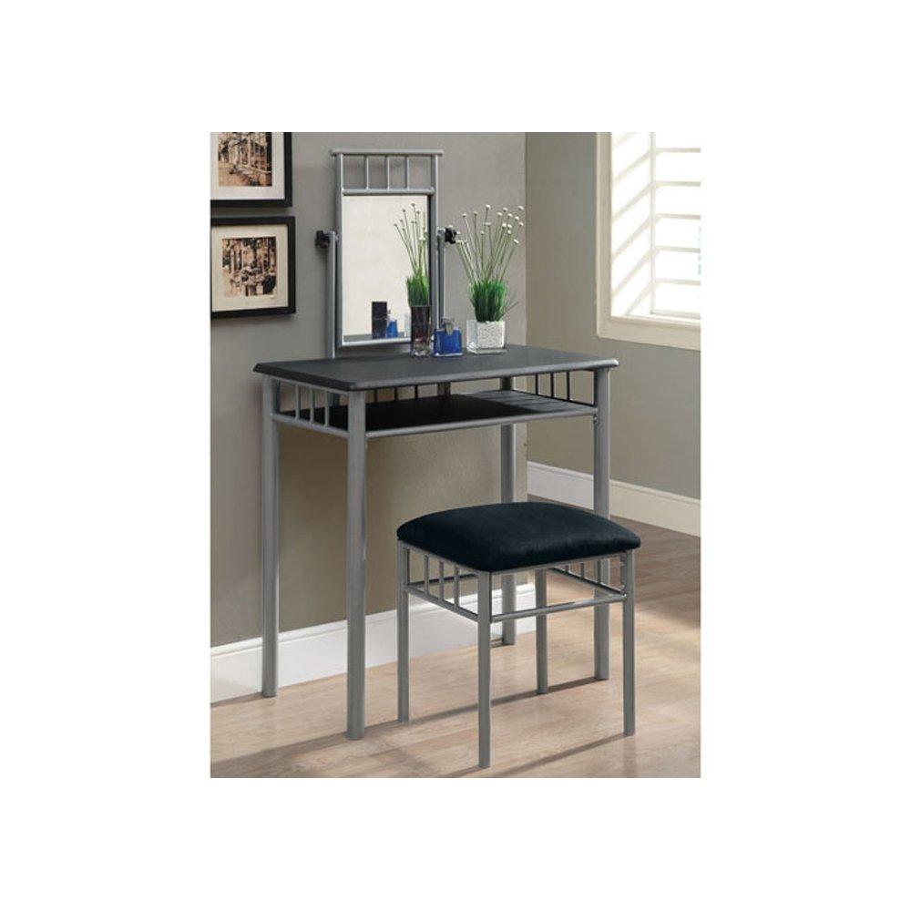 Amazon: Monarch Specialties I 3092 Black / Silver Metal 2Pcs Vanity Set:  Home Improvement