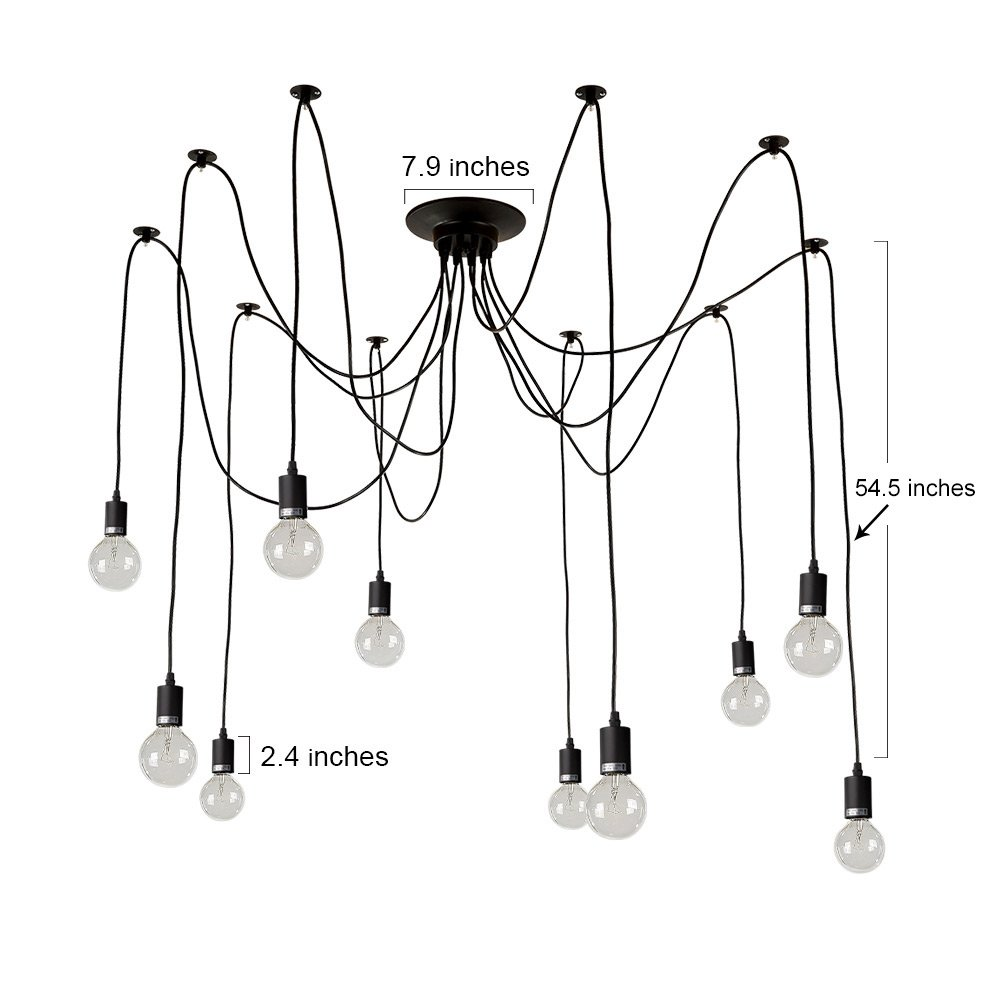 LNC A0167701 Adjustable Modern 10 Pendant Lights Chandeliers, Black