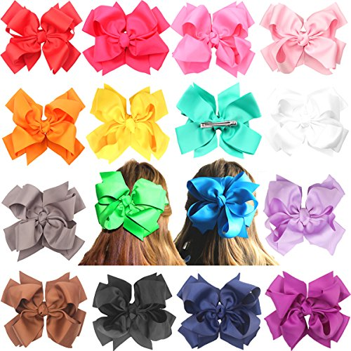 16 pcs 8 inches Huge Big Bow Clip Boutique Hair Bows For Girls Kids Children Women Alligator Hair Clips Grosgrain Ribbon Bows Hair Bands by CELLOT