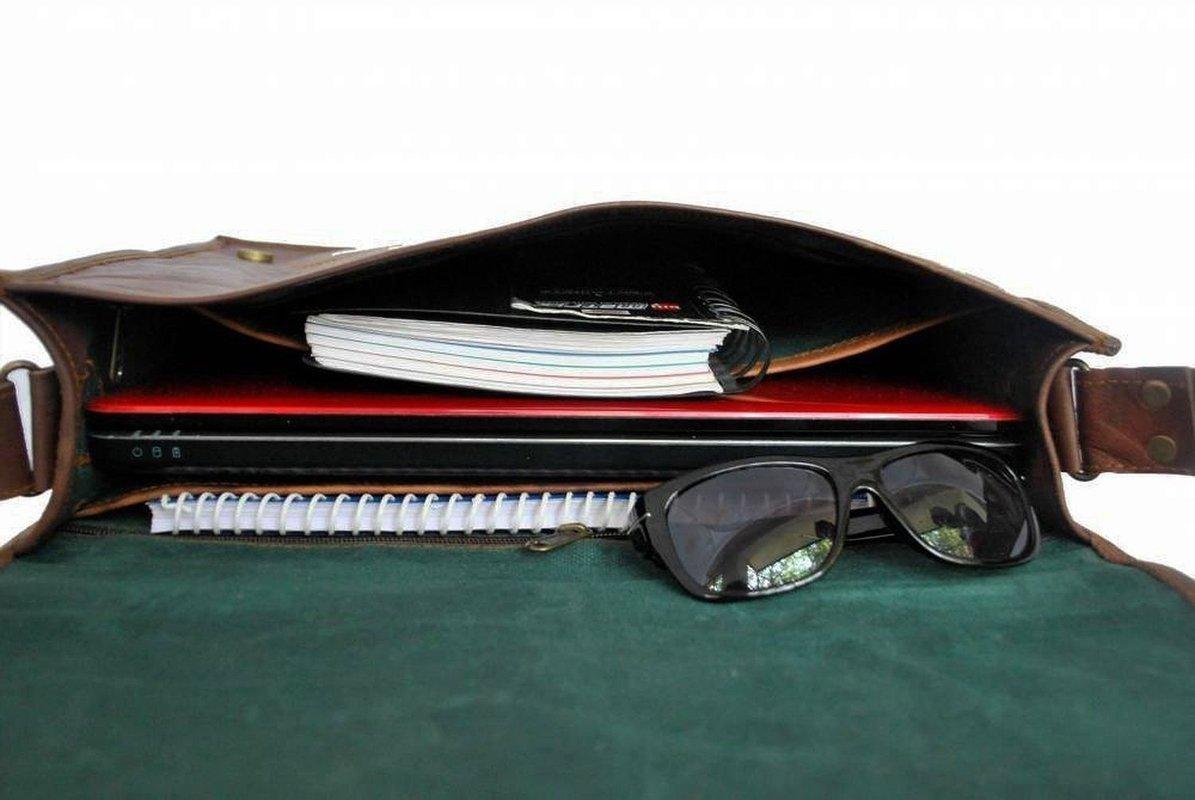Genuine Leather Messenger Bag 18'' Inch Laptop Satchel Office Briefcase Unisex
