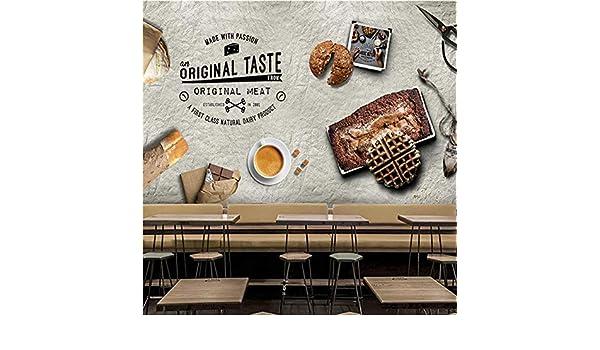 XXQBH Autoadhesivo Mural 3D Pastelería Panadería Retro Dibujado A ...