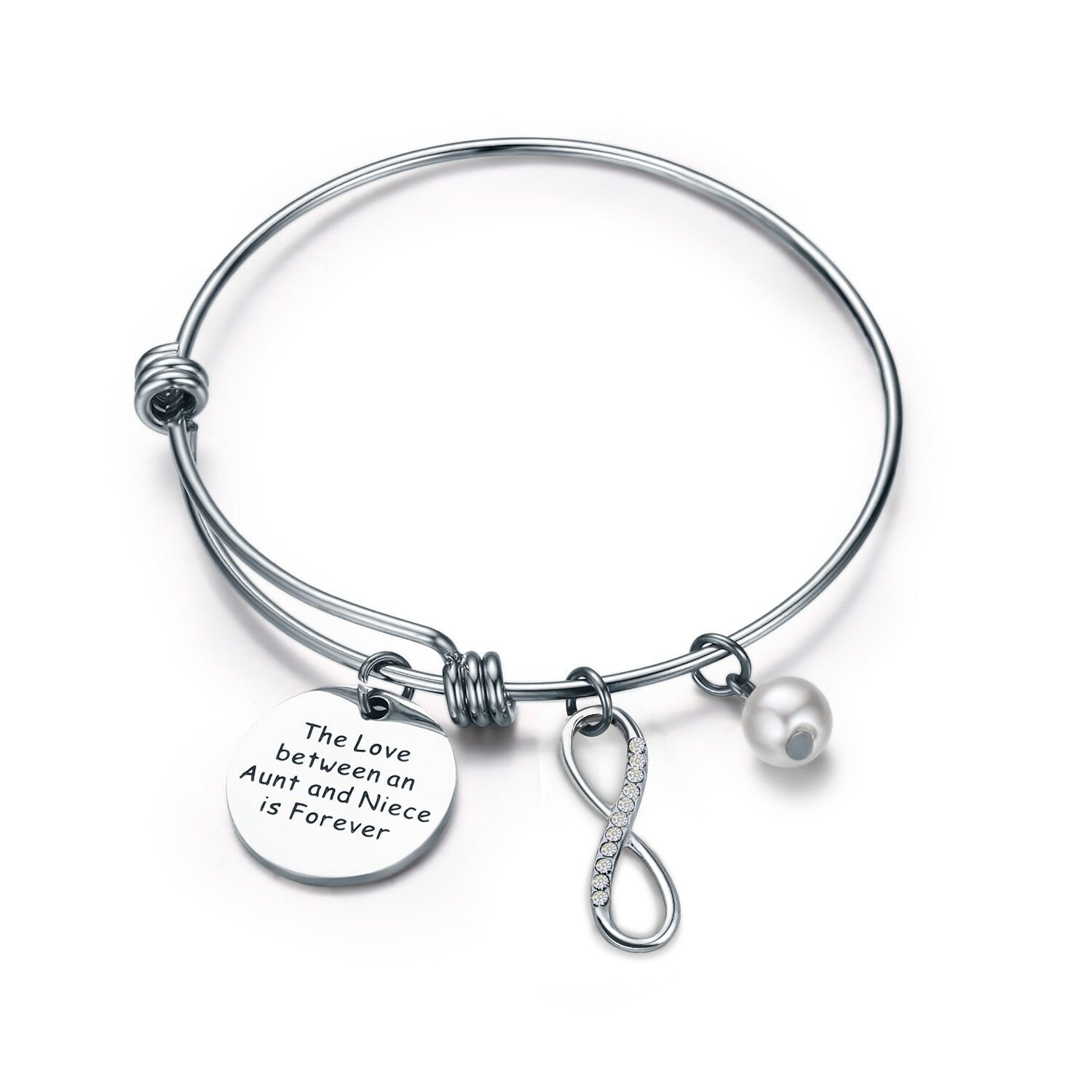 MYOSPARK Niece Bracelet Aunt Gifts The Love Between An Aunt and Niece is Forever Bracelet with Infinity Charm (Bracelet)