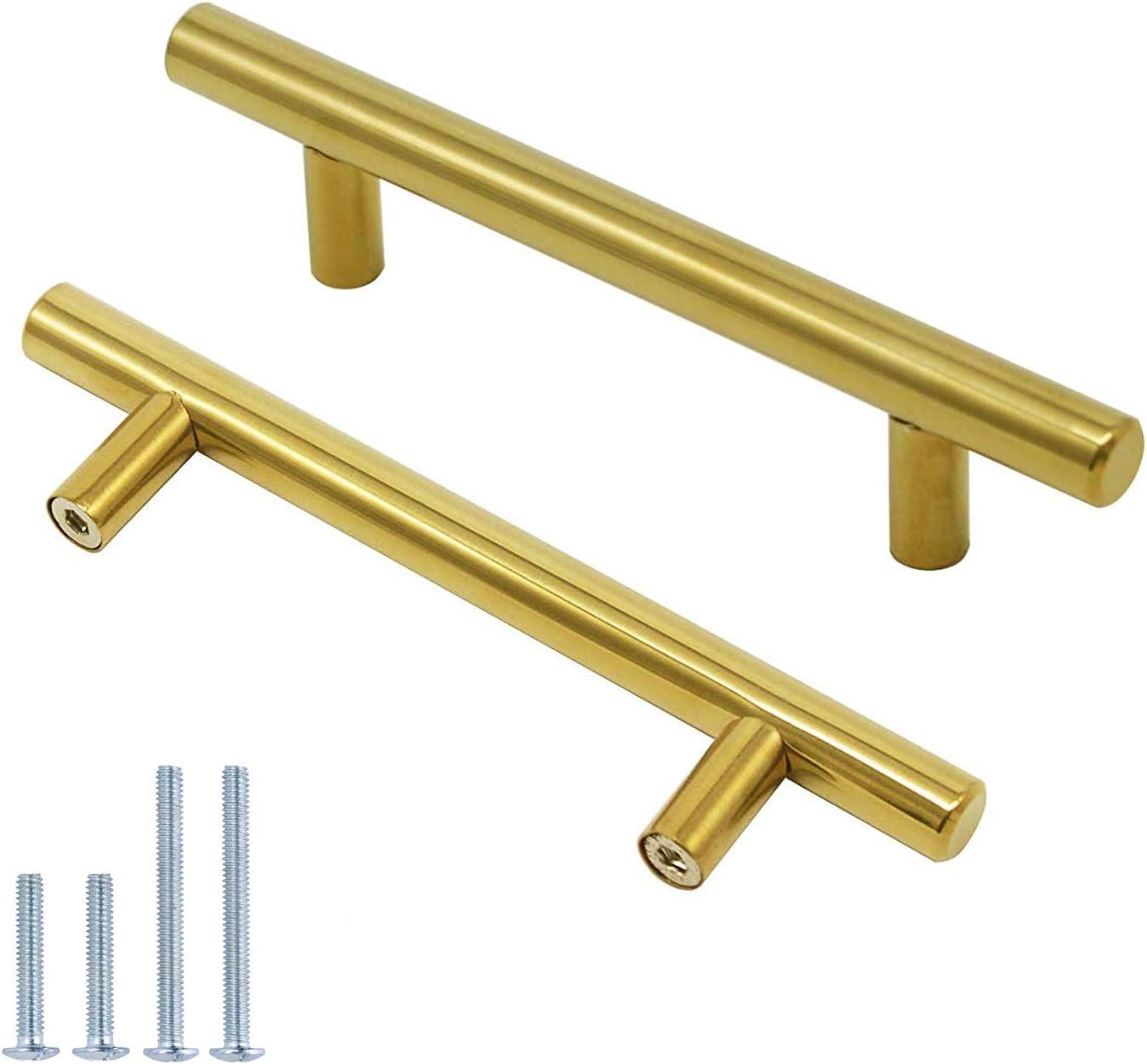4 Inch Drawer Pulls Brushed Gold Cabinet Handles,10 Pack Stainless Steel Dresser Pull Kitchen Furniture Hardware,Euro T Bar Closet Pull for Bedroom Bathroom Living Room