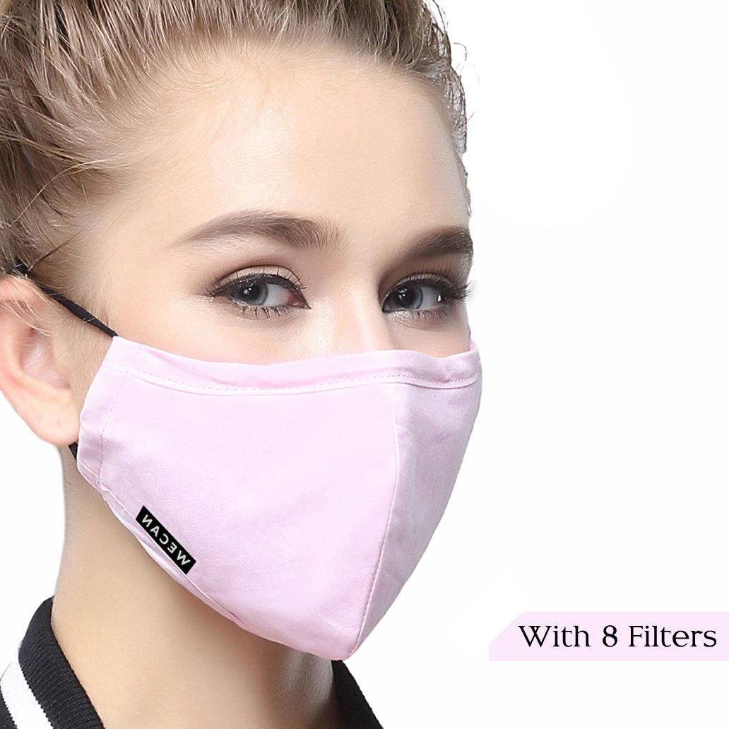 Cotton Mouth Masks Replaceable Filter (One Mask + 8 Filters) 4 Layer Activated Carbon Filter Insert Dust Mask Washable for Women Light Pink