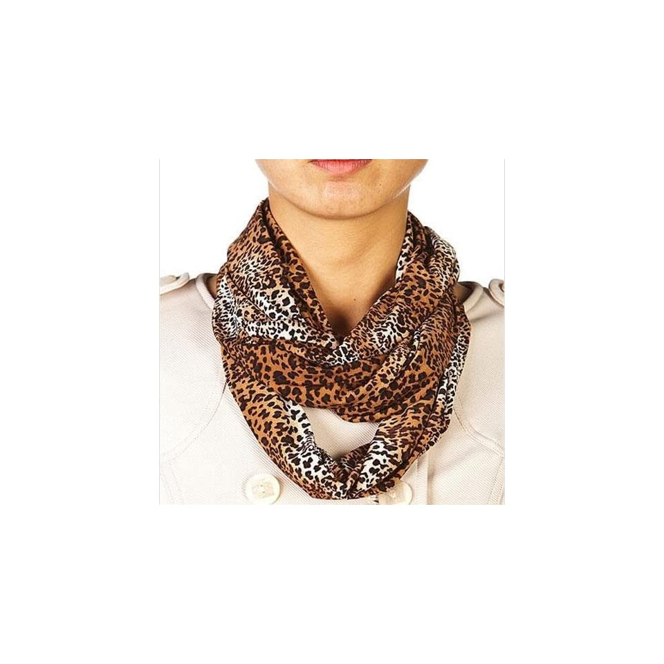 Brown Leopard Printed Circle Ring Infinity Scarf