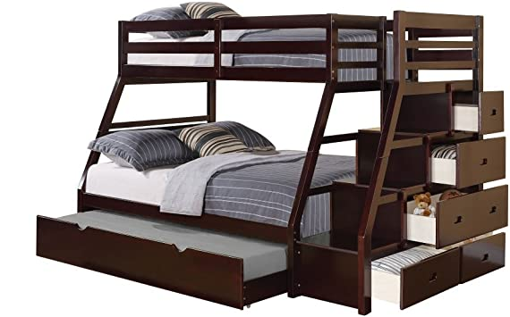 Amazon Com Acme Jason Twin Full Bunk Bed With Storage Ladder And