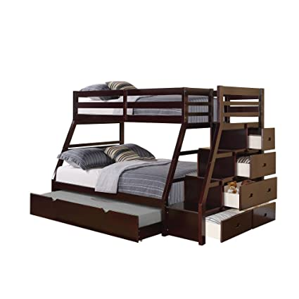 Beau ACME 37015 Jason Twin/Full Bunk Bed With Storage Ladder And Trundle,  Espresso Finish
