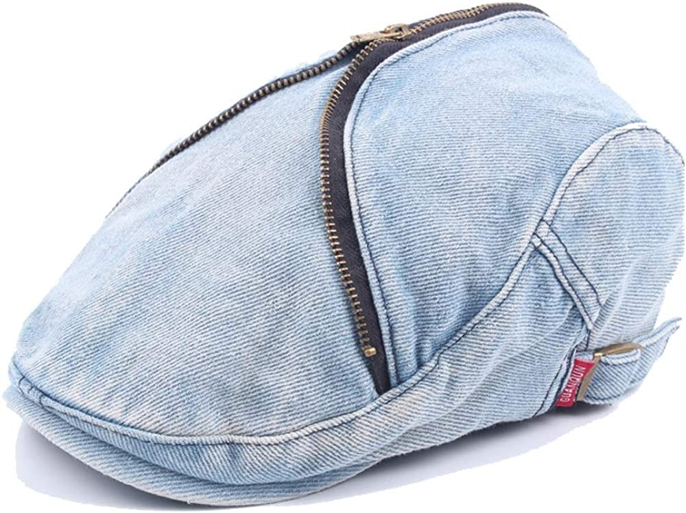 Centenarios Forward Cap Beret Cap Spring Autumn Wool Ladies Washed Denim Mens Retro Zipper Caps`