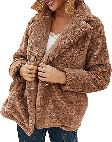NRUTUP Faux Fur Jacket Fuzzy Furry Fur Coat Longline Winter Coat Casual Outwear Khaki, 8 Full Length Teddy Bear Jacket Women