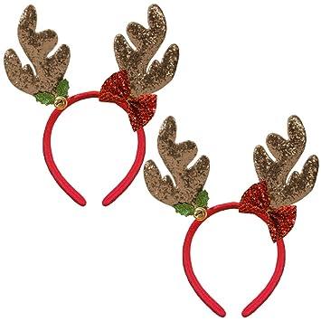 New Christmas Ladies// Girls Sequin Bow Headband XMAS ELF Hair Accessory one size