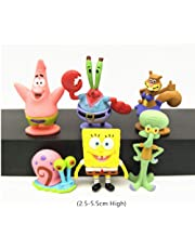 Small Aquarium Decorations - 6Pcs /Set Spongebob Aquarium Decoration Squidward Tentacles Patrick Star Squidward Krabs Cartoon Figures Kids Fish Tank Decorations