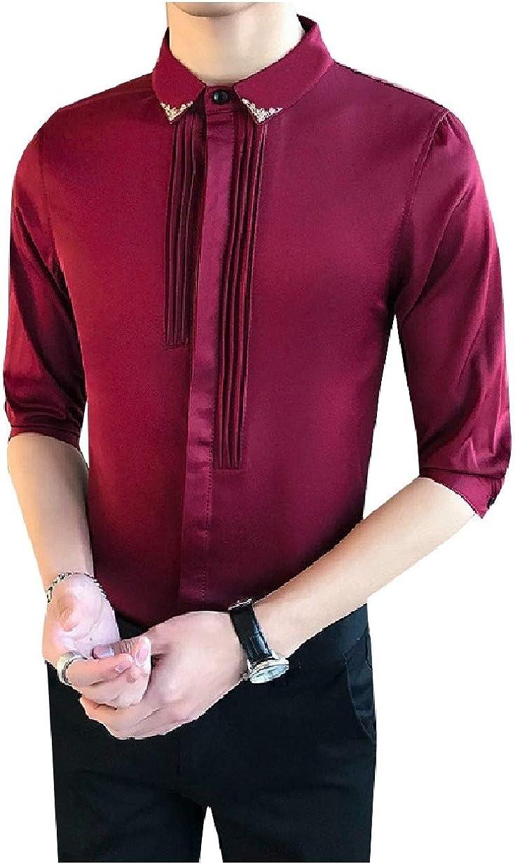 RDHOPE-Men Poplin Solid-Colored 3//4 Sleeve Nightclub Slim Casual Shirts