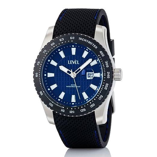 Reloj LEVEL A36719/1 - Reloj hombre WR 20 ATM deportivo con caja de acero inoxidable y correa de caucho.: Amazon.es: Relojes