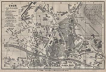 Amazoncom COIRE CHUR Chur Town City Stadtplan Switzerland - Chur map