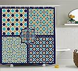 Mirryderr Arabian Decor Shower Curtain Set, Different Islamic Ornate Mosaic Patterns Historical Lines Heritage Culture Print, Bathroom Accessories, Blue Orange White