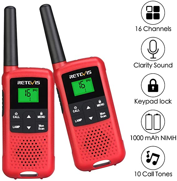 Retevis Rt649b Walkie Talkie Pmr446 Lizenzfrei 16 Kanäle Led Taschenlampe 3aa Akku Vox Scan Ctcss Dcs Walkie Talkie Wiederaufladbar Für Den Außenbereich 2 Stück Rot Elektronik