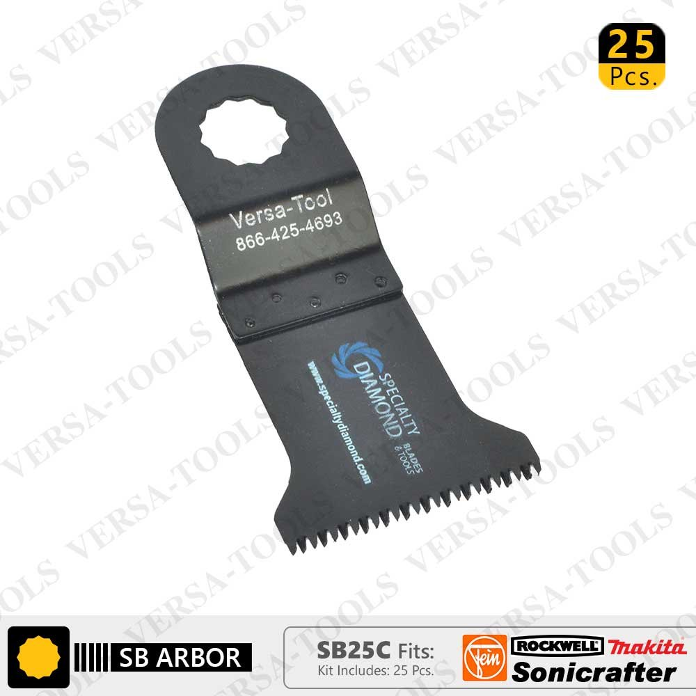 Versa Tool SB25C 45mm Japan Cut Tooth HCS Multi-Tool Saw Blades 25/Pack Fits Fein Multimaster, Rockwell, Sonicrafter, Makita Oscillating Tools