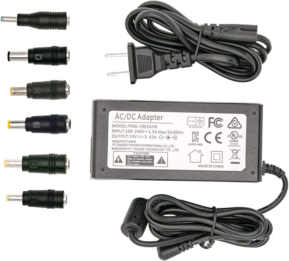 19V 3.42A AC Adapter 65W Universal Laptop Charger for Toshiba Satellite Lenovo IdeaPad ASUS Acer HP Laptop